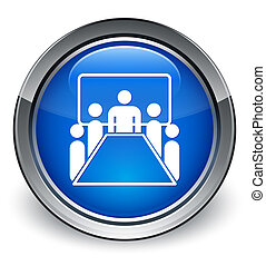 Meeting room icon glossy blue button