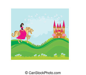 princess riding a horse into the castle