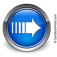 More arrow icon glossy blue button