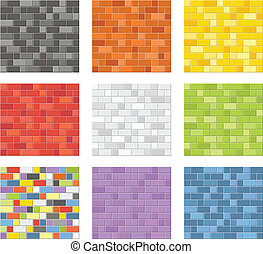 Color seamless patterns of brick wa