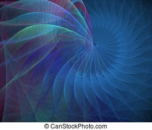 Blue Shell Spiral Abstract - Layered blue, spiraling fabric...