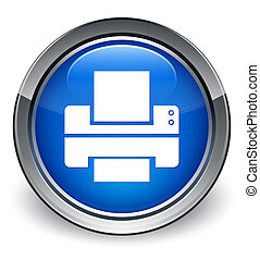 Printer icon glossy blue button