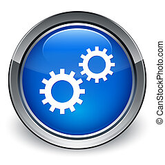 Process gears icon glossy blue button