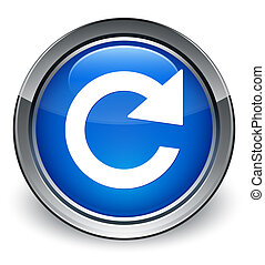 Reply rotate icon glossy blue button
