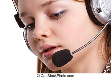 Telephone conversation - Image of a beautiful girl during a...