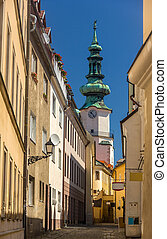 A street in Bratislava old town, with view on Michael Gate