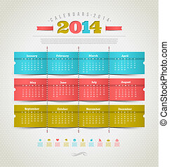 Calendar of 2014 year - Vector template design - calendar of...