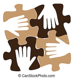 four hands in a puzzle