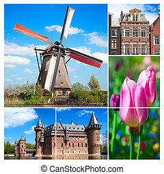 Windmils - Collage made of various photos from Netherlands