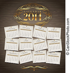 Vintage Calendar of 2014 year - Vector design template -...