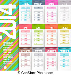 Calendar of 2014 - Vector design template - Calendar of 2014...