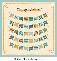 Set of bunting and garland in retro colors Vector...