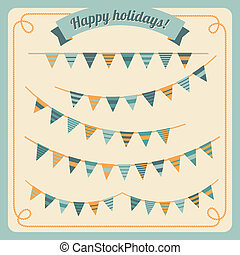 Set of bunting and garland in retro colors. Vector...