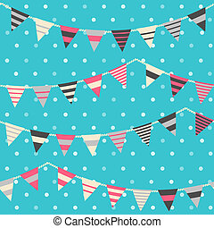 Colorful pattern with bunting and garland. Seamles vector...