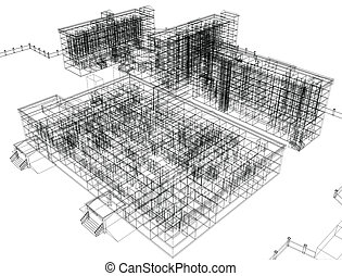 Wire-frame abstract archticture on the white background. EPS...