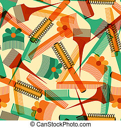 Hairdressing tools seamless pattern in retro style