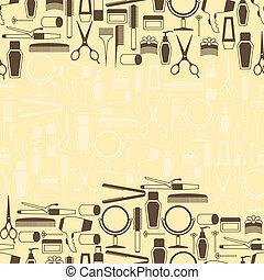 peluquería, herramientas, seamless, patrón,...