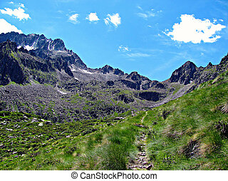 Mountain Path to the Sky - Italian Alps - A mountain path,...