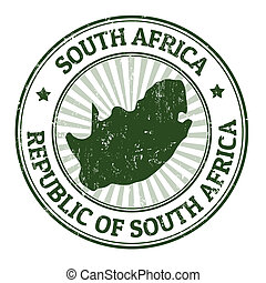 South Africa stamp - Grunge rubber stamp with the name and...