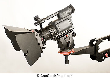hd camcorder on crane - isolated high definition camcorder...