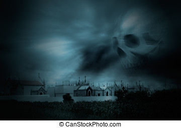 Halloween night - Spooky image with old European cemetery in...