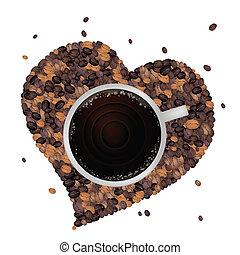 Hot Coffee with Heart Shape of Coffee Beans