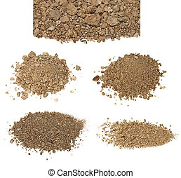 set pile dry dirt isolated on white background with clipping...