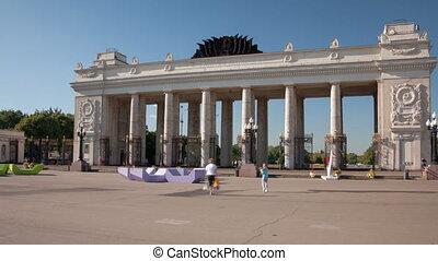 Gorky Park hyperlapse - Gorky Park entrance in Moscow,...