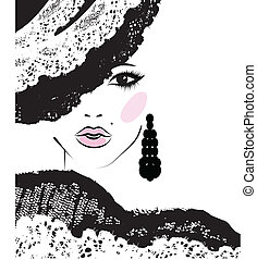 girl with in a lace hat, fashion illustration - girl with a...