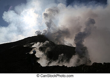 Volcano etna in Sicily with steam emission in the morning...