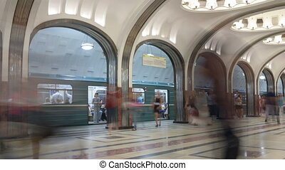 Subway station timelapse - Maykovskay subway station in...