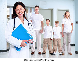 Smiling medical doctor woman and family.