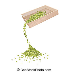 Mung Beans Dropped from A Wooden Container