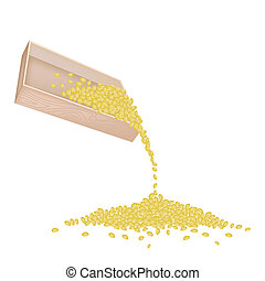 Split Peas Dropped from A Wooden Container - An Illustration...