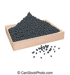 A Lot of Black Beans in Wooden Container