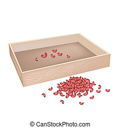A Stack of Kidney Bean with Wooden Container