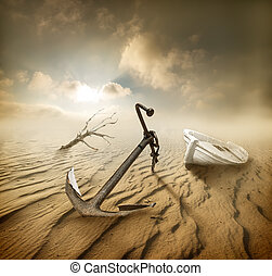 Boat in the desert - Boat, anchor and dry tree in the desert