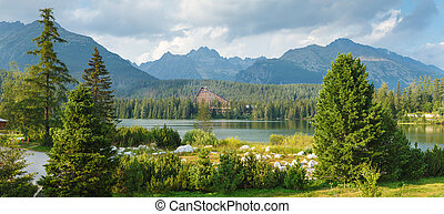 panorama of mountain lake in National Park High Tatra - High...