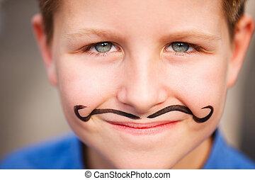 lindo, niño, pintado, bigote