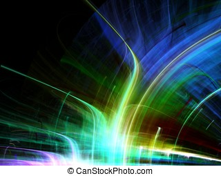 Streaking Arch Abstract - Bright arch of streaking colors -...