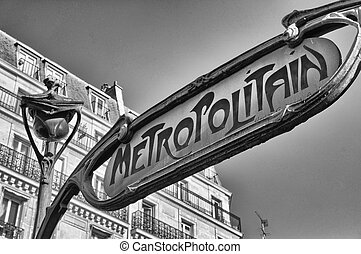 Famous historic Art Nouveau entrance sign for the...