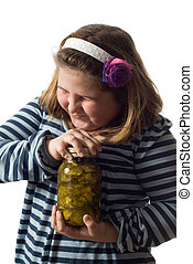 Persistence Concept - Concept image of a young girl trying...
