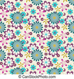 seamless violet green flowers on white background