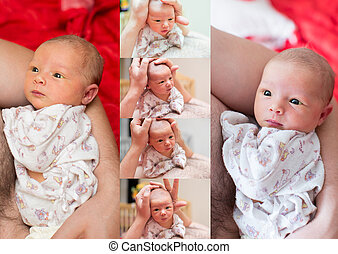 Collage of newborn baby girl on hands father cuddling at...