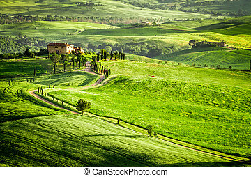 Sunset over farmhouse in Tuscany located on a hill