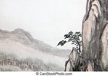 Chinese painting of high mountain - Traditional Chinese...