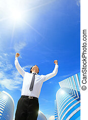 happy business man arise arms - happy successful business...