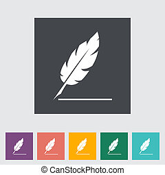 Feather. Single flat icon. Vector illustration.