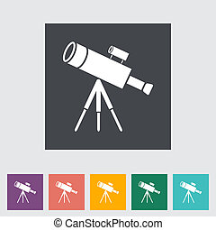 Telescope. Single flat icon. Vector illustration.