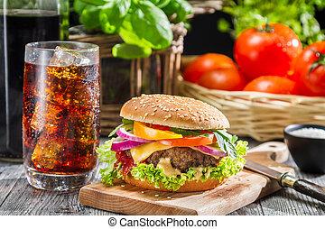 caseiro, hamburger, coca-cola, gelo